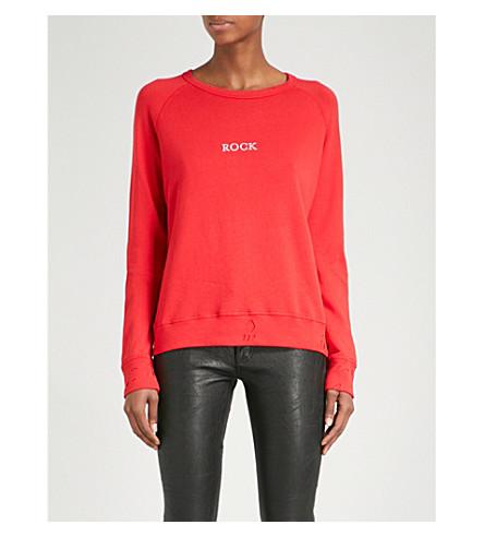 ZADIG & VOLTAIRE Rock-print cotton-blend jumper (Rouge