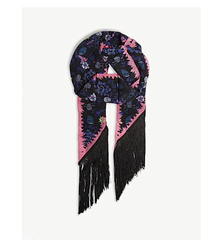 ZADIG & VOLTAIRE 丝缎条纹纹身海盗真丝围巾 (黑色