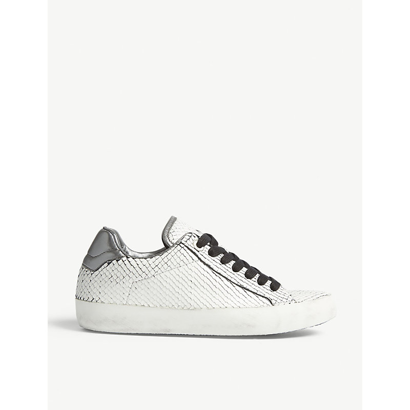 NEO KEITH REPTILE-EMBOSSED LEATHER SNEAKERS