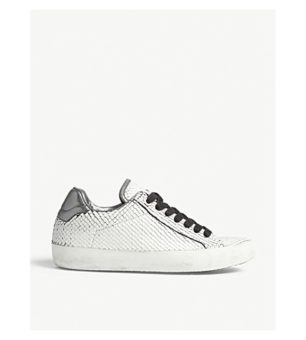ZADIG & VOLTAIRE Neo Keith reptile-embossed leather trainers (Blanc