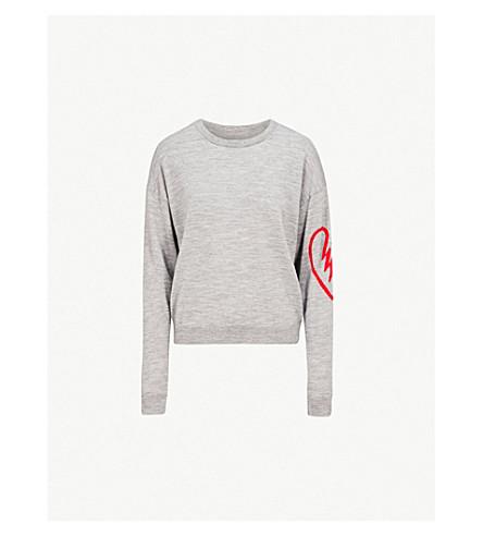 ZADIG & VOLTAIRE Heart-motif merino wool jumper (Gris+chine+clair