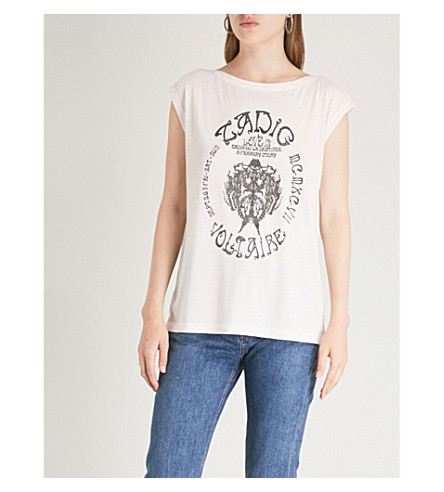ZADIG & VOLTAIRE Frida cotton-jersey top (Parme