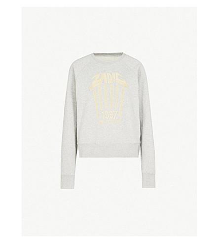 zadig & voltaire 艺术是真理刺绣棉针织运动衫 (gris + chine