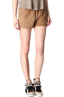 MAJE Astray perforated suede shorts