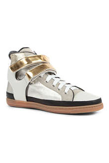 MAJE Metallic high-top trainers