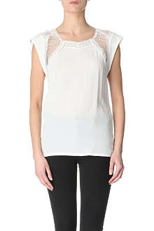 MAJE Clara silk and lace top