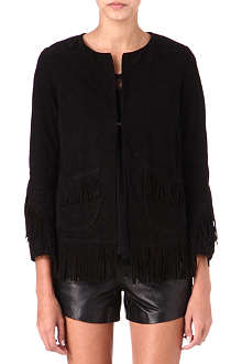 MAJE Loyal fringed suede jacket