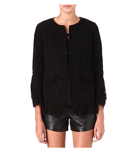 MAJE Loyal fringed suede jacket (Black