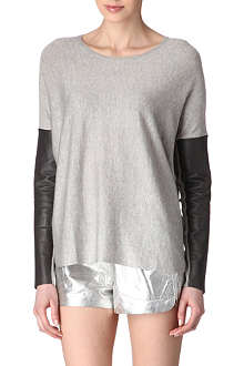 MAJE Pomelos leather-sleeve jumper