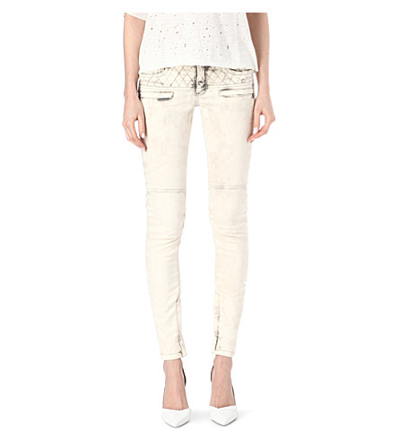 MAJE Downtown slim jean with quilted sewing (Ecru