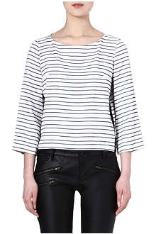 MAJE Ebelmann black and white striped top