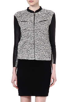 MAJE Echantill zipped cardigan with leather sleeves