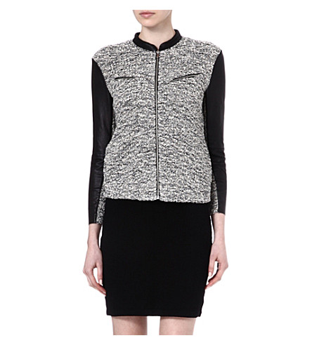 MAJE Echantill zipped cardigan with leather sleeves (Black