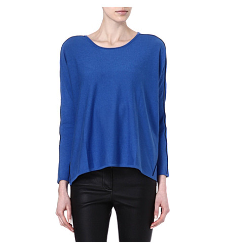 MAJE Ecolier loose pullover leather pipping (Bleu