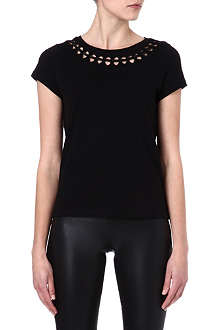 MAJE Econome leather-detail t-shirt