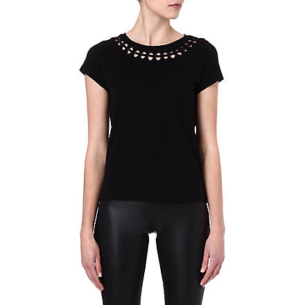 MAJE Econome leather-detail t-shirt (Noir