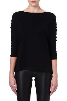 MAJE Economie leather detail t-shirt