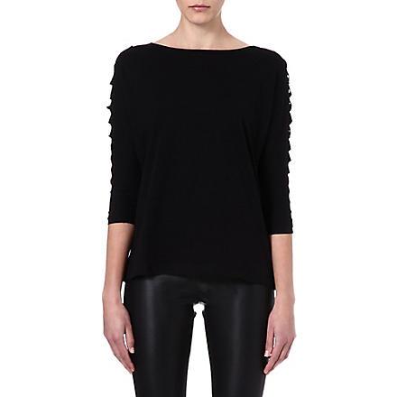 MAJE Economie leather detail t-shirt (Noir