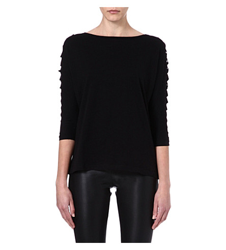 MAJE Economie leather detail t-shirt (Noir