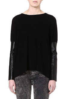 MAJE Ecureuil leather-sleeved jumper
