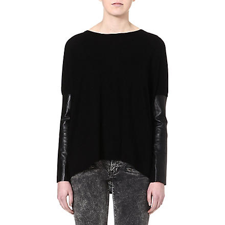 MAJE Ecureuil leather-sleeved jumper (Black