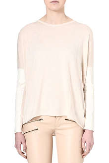 MAJE Oversized leather-patch jumper