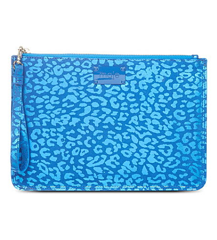 MAJE Edelina leopard printed pouch (Bleu