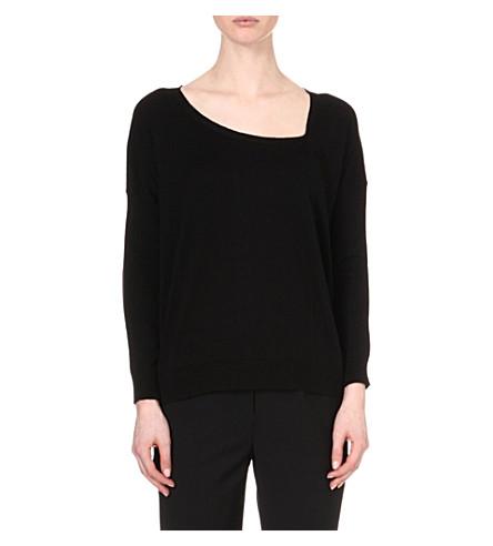 MAJE Edelweiss asymmetrical neckline pull-over (Noir