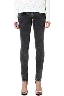 MAJE Printed jeans with leather belt