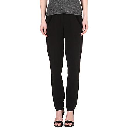 MAJE Edmonde velvet-trimmed trousers (Black