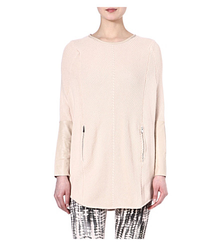 MAJE Eduel leather poncho jumper (Nude