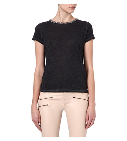 MAJE Electric embellished t-shirt (Noir