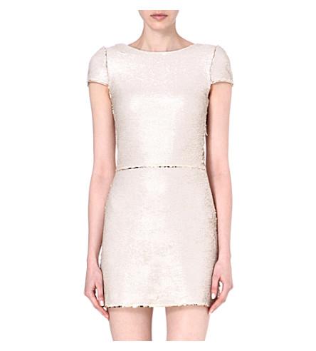 MAJE Elisee sequinned dress (Beige