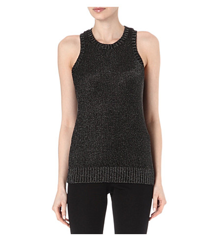 MAJE Elvis lurex vest top (Black