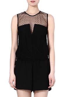 MAJE Elxen lace yoke playsuit