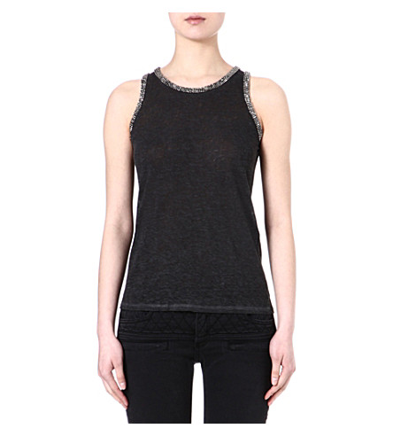 MAJE Email embellished sleeveless top (Noir