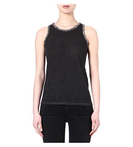 MAJE Email embellished sleeveless top (Noir