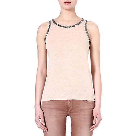 MAJE Email embellished sleeveless top (Nude