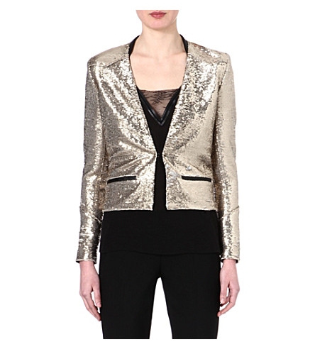 MAJE Emflammer glitter jacket (Or