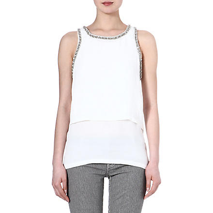 MAJE Emir embellished sleeveless top (Ecru