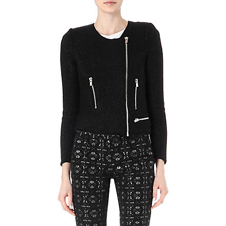 MAJE Empire zip-up cardigan (Noir