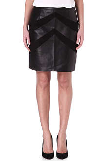 MAJE Enjole suede and leather skirt