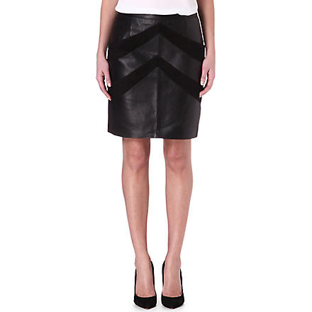 MAJE Enjole suede and leather skirt (Noir