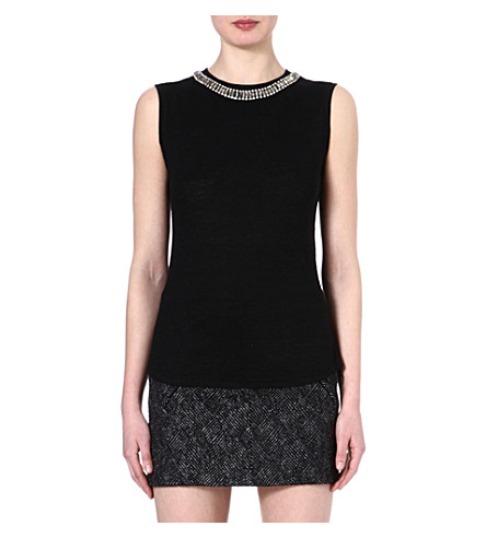 MAJE Enlever embellished top (Black