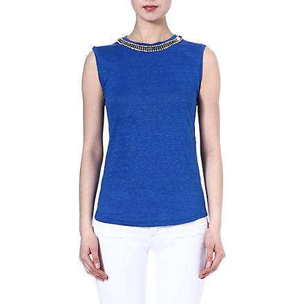 MAJE Enlever embellished top (Bleu