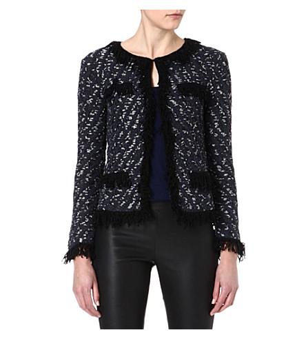 MAJE Enluminur jacquard fringed jacket (Bleu