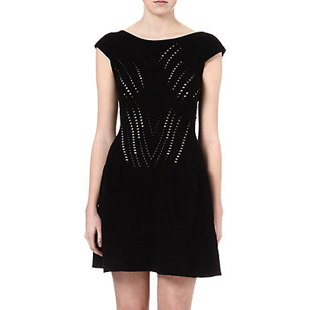 MAJE Eryne laser cut-out dress (Noir