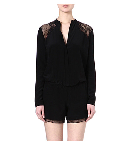 MAJE Evening lace playsuit (Black
