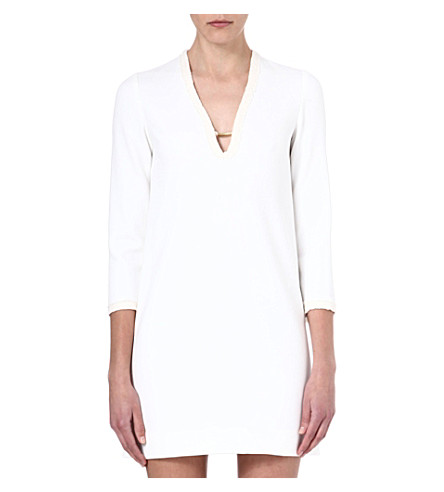 MAJE Ewen v-neck shift dress (Ecru
