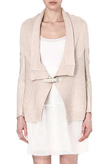 MAJE Falane leather-panelled cardigan